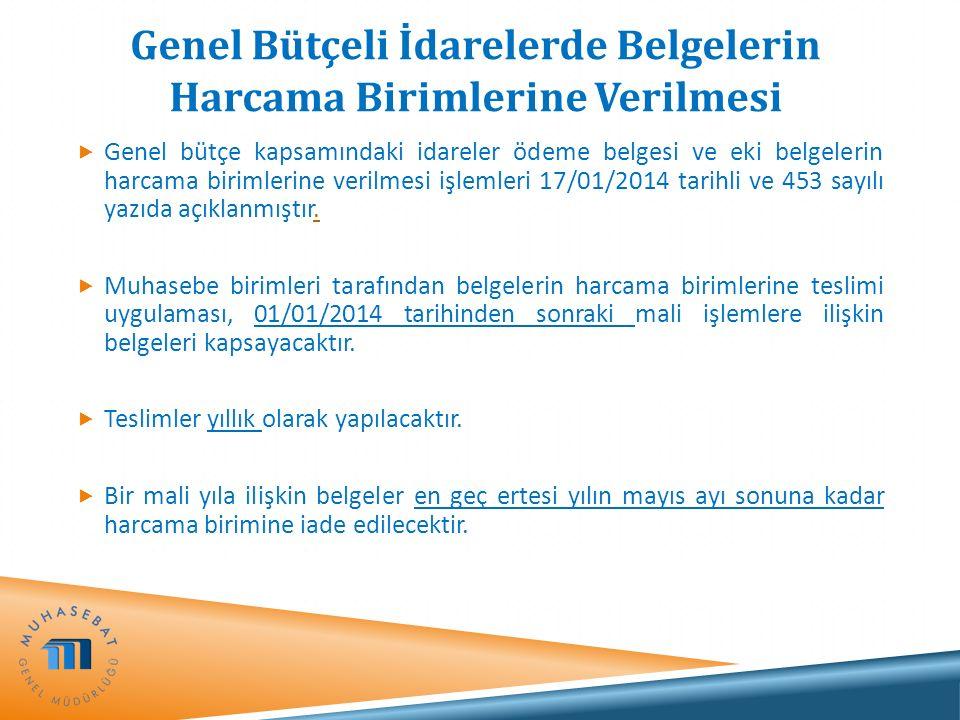 Genel Bütçeli İdarelerde Belgelerin Harcama Birimlerine Verilmesi  Genel bütçe kapsamındaki idareler ödeme belgesi ve eki belgelerin harcama birimler