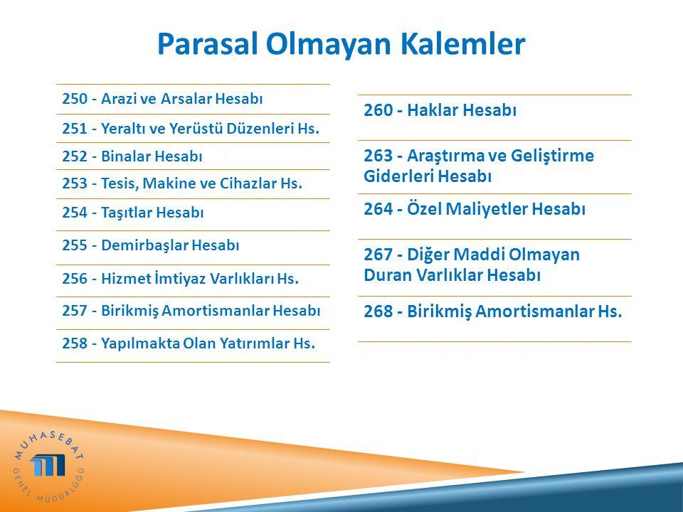 Parasal Olmayan Kalemler 250 - Arazi ve Arsalar Hesabı 251 - Yeraltı ve Yerüstü Düzenleri Hs. 252 - Binalar Hesabı 253 - Tesis, Makine ve Cihazlar Hs.