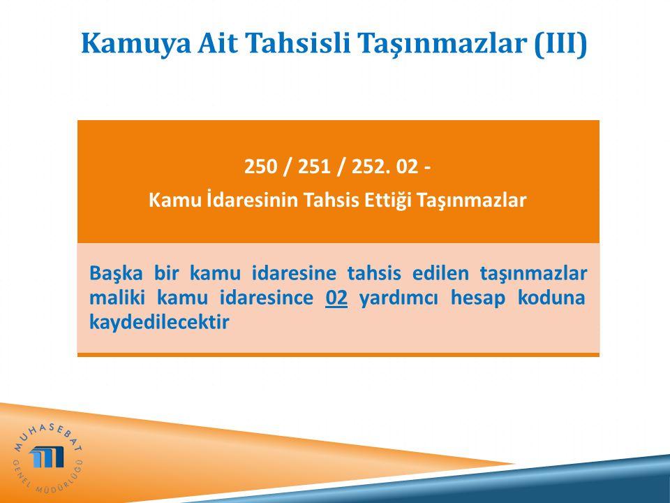 Kamuya Ait Tahsisli Taşınmazlar (III) 250 / 251 / 252. 02 - Kamu İdaresinin Tahsis Ettiği Taşınmazlar Başka bir kamu idaresine tahsis edilen taşınmazl