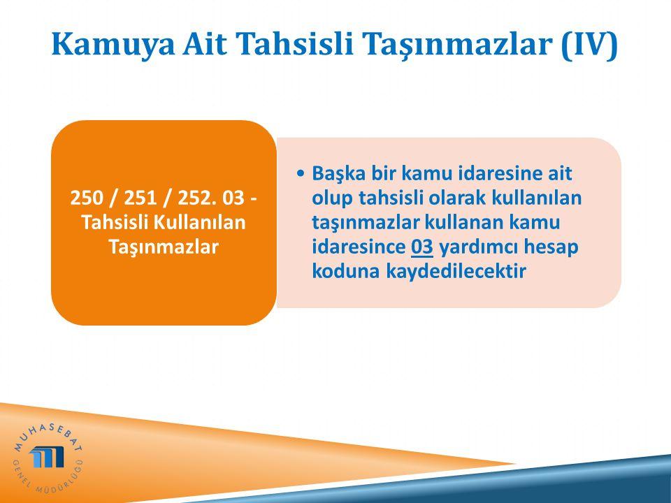 Kamuya Ait Tahsisli Taşınmazlar (IV) Başka bir kamu idaresine ait olup tahsisli olarak kullanılan taşınmazlar kullanan kamu idaresince 03 yardımcı hes