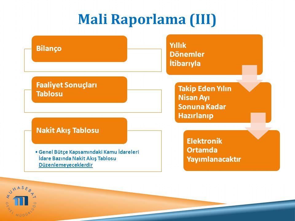 Mali Raporlama (III) Bilanço Faaliyet Sonuçları Tablosu Genel Bütçe Kapsamındaki Kamu İdareleri İdare Bazında Nakit Akış Tablosu Düzenlemeyeceklerdir