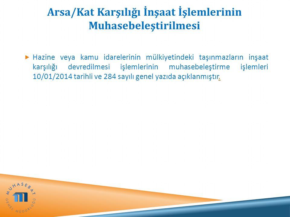 Arsa/Kat Karşılığı İnşaat İşlemlerinin Muhasebeleştirilmesi  Hazine veya kamu idarelerinin mülkiyetindeki taşınmazların inşaat karşılığı devredilmesi