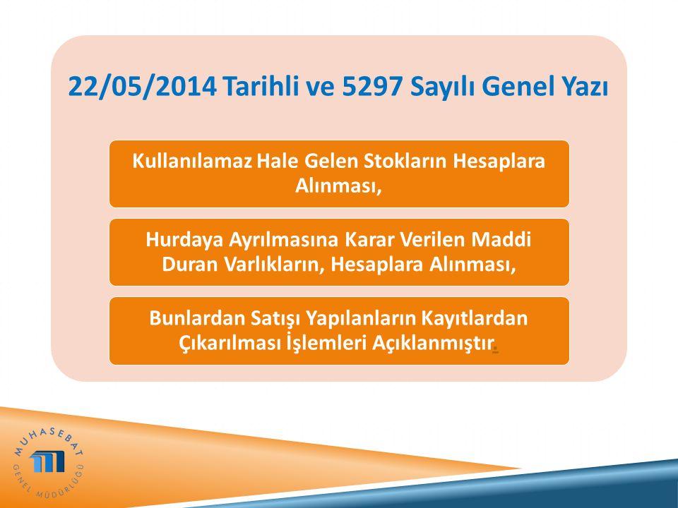 22/05/2014 Tarihli ve 5297 Sayılı Genel Yazı Kullanılamaz Hale Gelen Stokların Hesaplara Alınması, Hurdaya Ayrılmasına Karar Verilen Maddi Duran Varlı