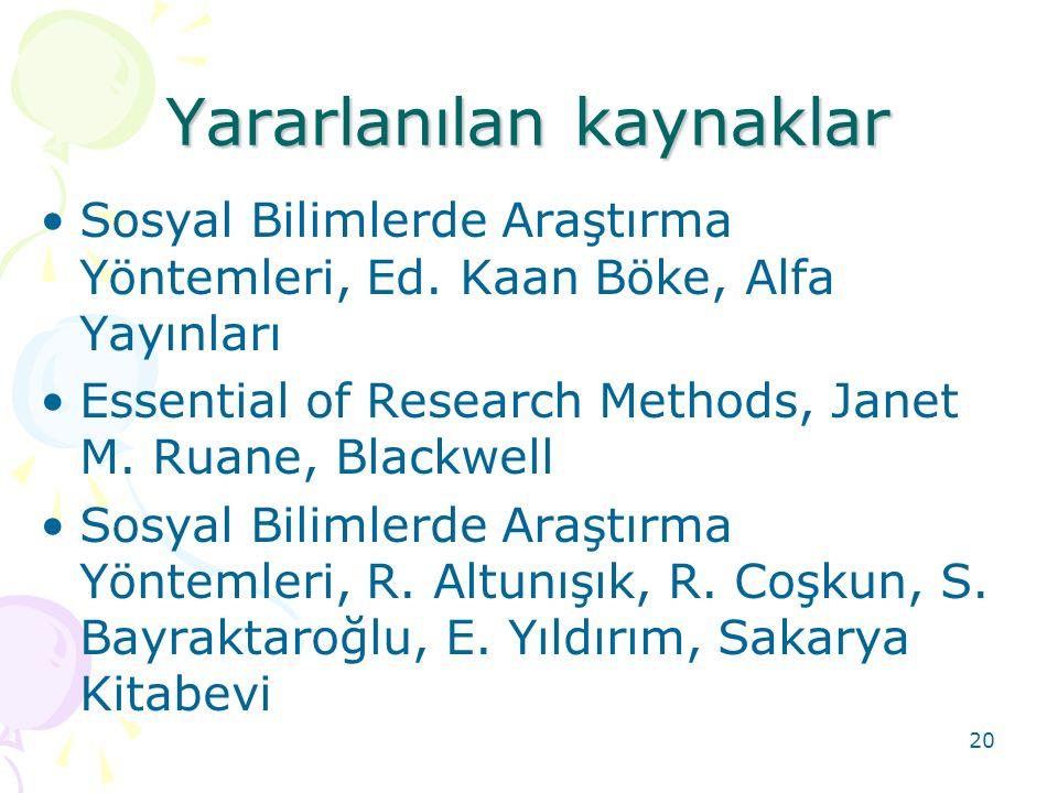 Yararlanılan kaynaklar Sosyal Bilimlerde Araştırma Yöntemleri, Ed. Kaan Böke, Alfa Yayınları Essential of Research Methods, Janet M. Ruane, Blackwell