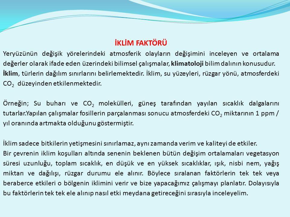 1.SICAKLIK FAKTÖRÜ Bitkilerin temel fizyolojik yaşam olayları üzerine en etkili iklim faktörü sıcaklıktır.