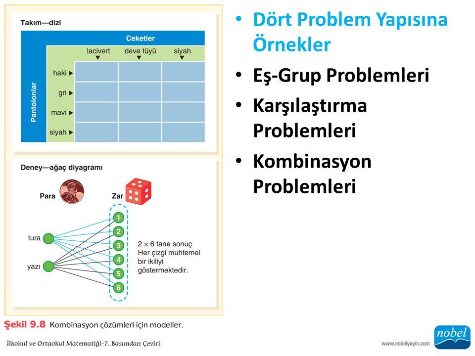 Dört Problem Yapısına Örnekler Eş-Grup Problemleri Karşılaştırma Problemleri Kombinasyon Problemleri