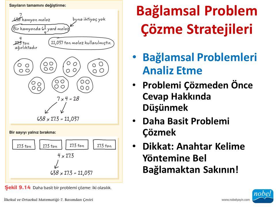 Bağlamsal Problem Çözme Stratejileri Bağlamsal Problemleri Analiz Etme Problemi Çözmeden Önce Cevap Hakkında Düşünmek Daha Basit Problemi Çözmek Dikka