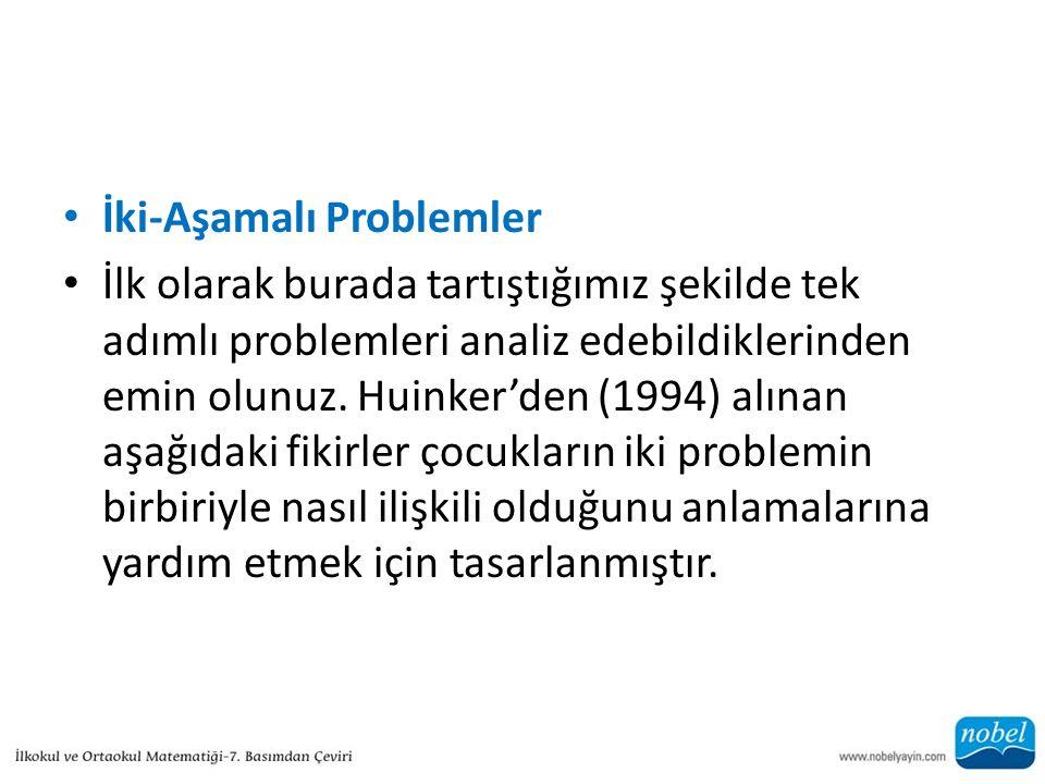 İki-Aşamalı Problemler İlk olarak burada tartıştığımız şekilde tek adımlı problemleri analiz edebildiklerinden emin olunuz. Huinker'den (1994) alınan