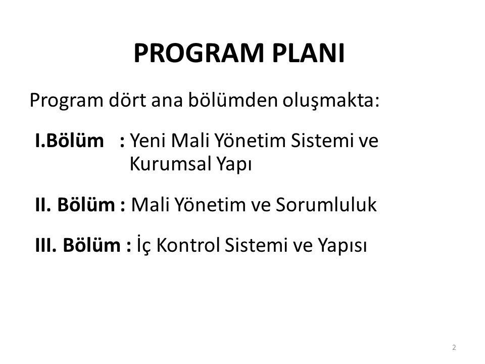 PROGRAM PLANI Program dört ana bölümden oluşmakta: I.Bölüm : Yeni Mali Yönetim Sistemi ve Kurumsal Yapı II. Bölüm : Mali Yönetim ve Sorumluluk III. Bö