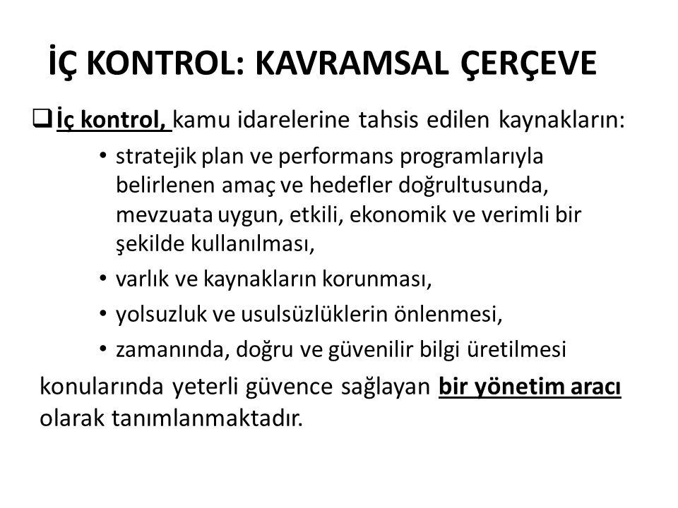 İÇ KONTROL: KAVRAMSAL ÇERÇEVE  İç kontrol, kamu idarelerine tahsis edilen kaynakların: stratejik plan ve performans programlarıyla belirlenen amaç ve