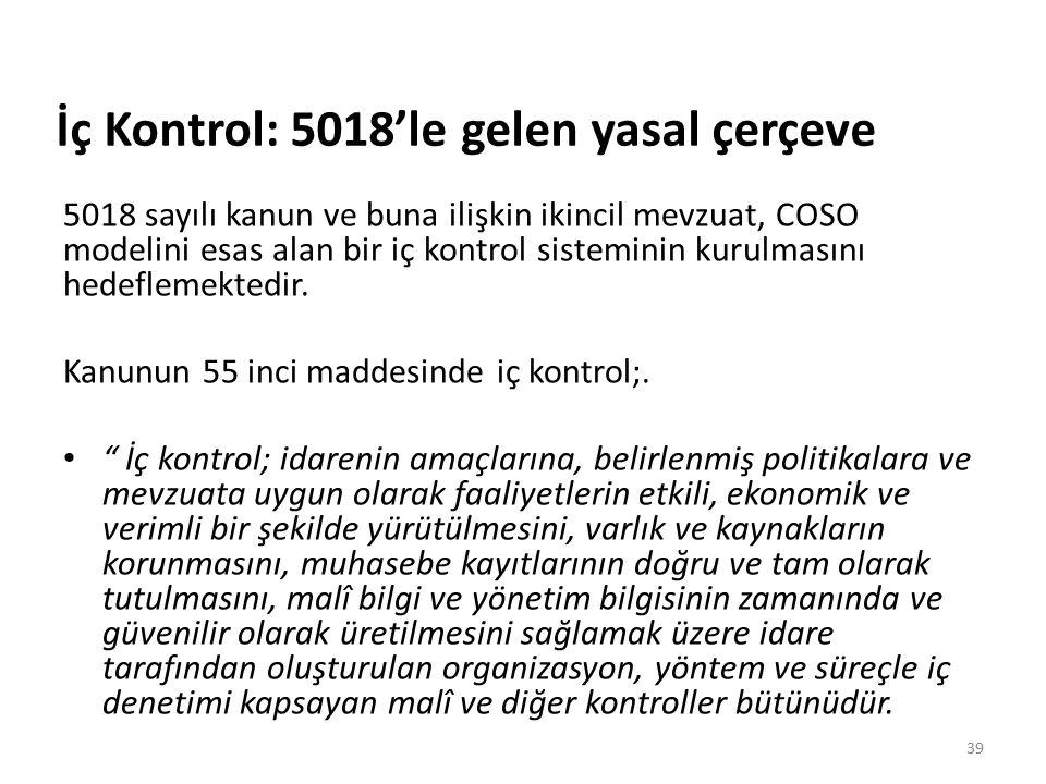İç Kontrol: 5018'le gelen yasal çerçeve 5018 sayılı kanun ve buna ilişkin ikincil mevzuat, COSO modelini esas alan bir iç kontrol sisteminin kurulmasını hedeflemektedir.