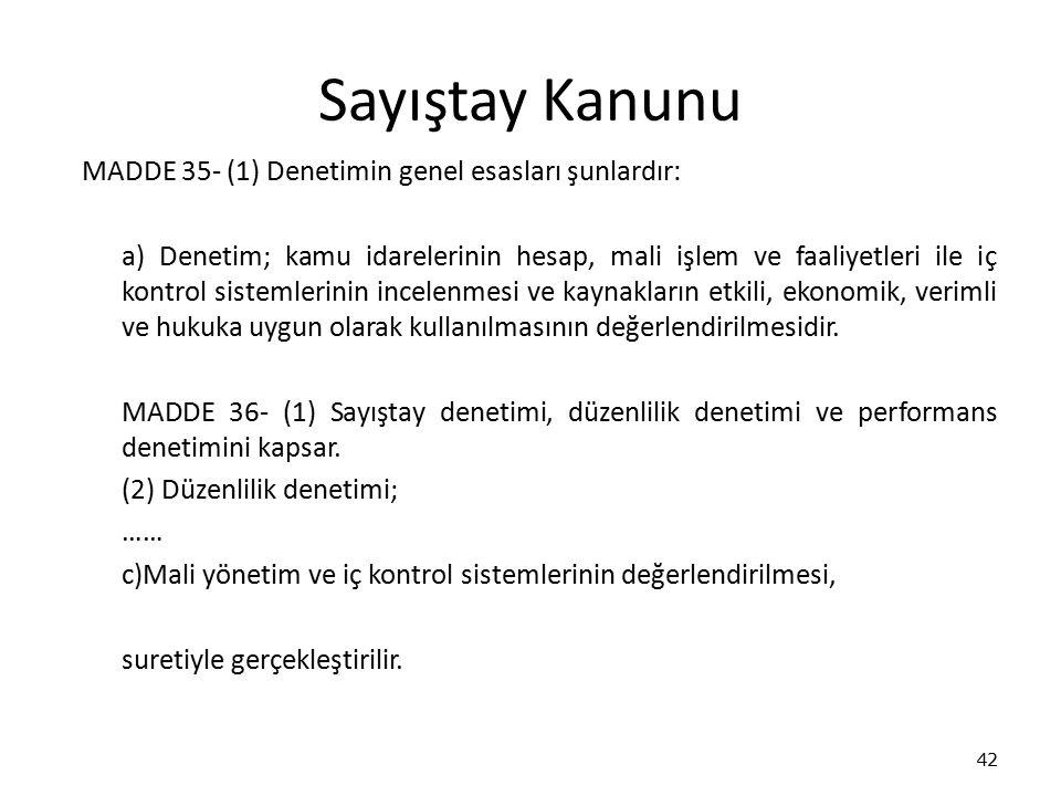 Sayıştay Kanunu MADDE 35- (1) Denetimin genel esasları şunlardır: a) Denetim; kamu idarelerinin hesap, mali işlem ve faaliyetleri ile iç kontrol siste
