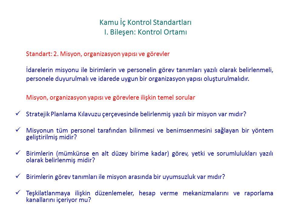 Kamu İç Kontrol Standartları I.Bileşen: Kontrol Ortamı Standart: 2.