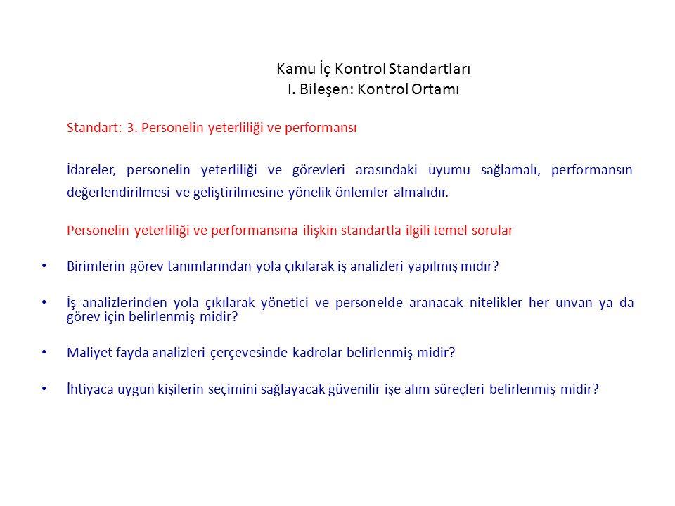 Kamu İç Kontrol Standartları I.Bileşen: Kontrol Ortamı Standart: 3.