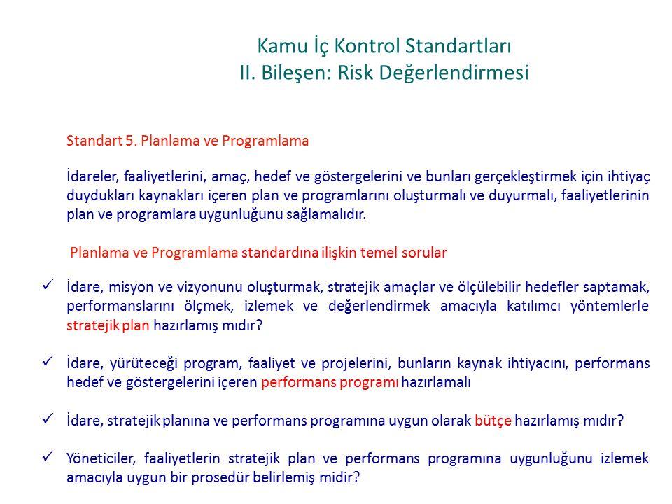 Kamu İç Kontrol Standartları II.Bileşen: Risk Değerlendirmesi Standart 5.
