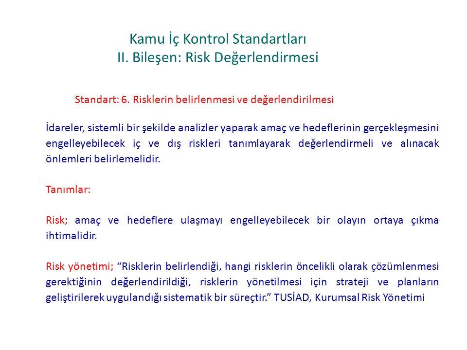Kamu İç Kontrol Standartları II.Bileşen: Risk Değerlendirmesi Standart: 6.