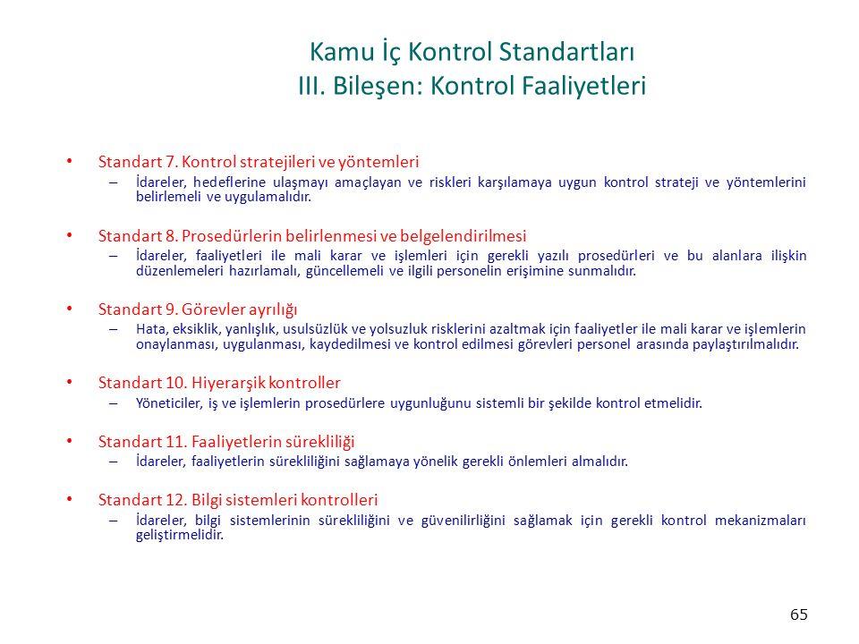 Kamu İç Kontrol Standartları III. Bileşen: Kontrol Faaliyetleri Standart 7. Kontrol stratejileri ve yöntemleri – İdareler, hedeflerine ulaşmayı amaçla