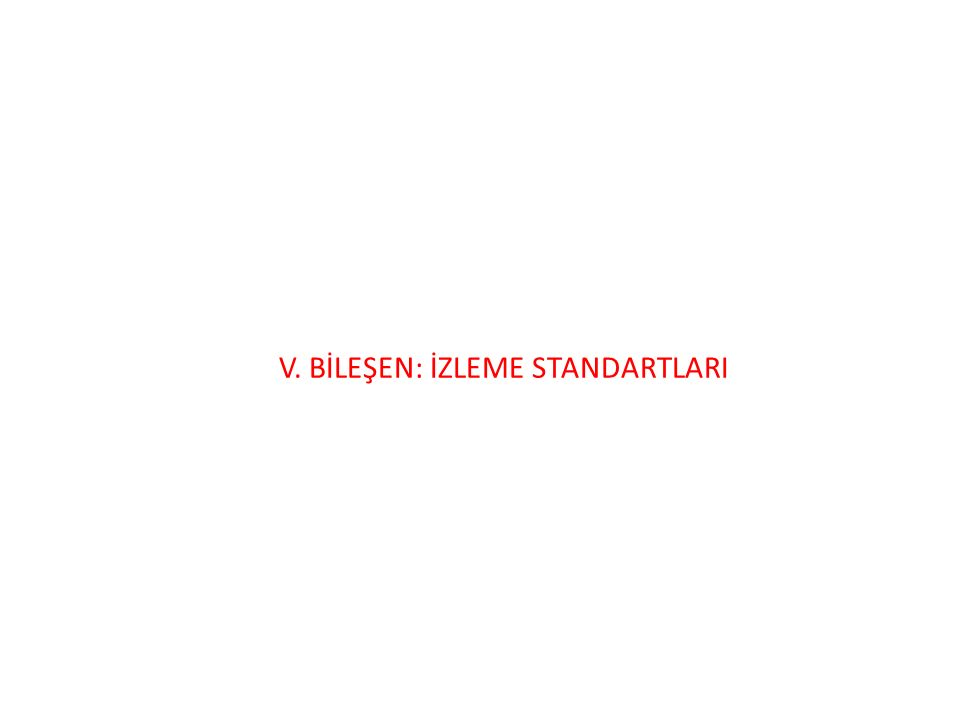 V. BİLEŞEN: İZLEME STANDARTLARI