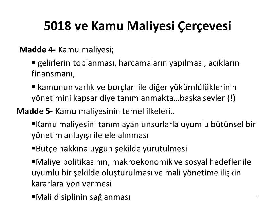 5018 ve Kamu Maliyesi Çerçevesi Madde 4- Kamu maliyesi;  gelirlerin toplanması, harcamaların yapılması, açıkların finansmanı,  kamunun varlık ve bor
