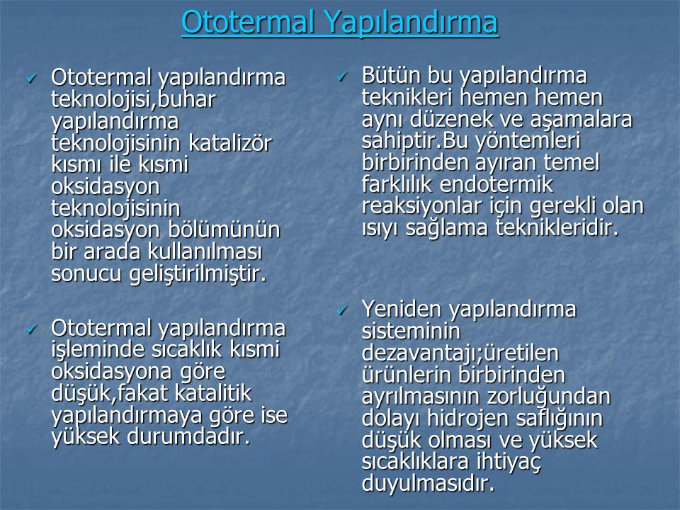 Ototermal Yapılandırma Ototermal yapılandırma teknolojisi,buhar yapılandırma teknolojisinin katalizör kısmı ile kısmi oksidasyon teknolojisinin oksida