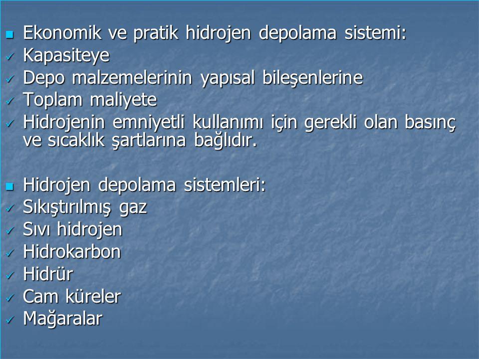 Ekonomik ve pratik hidrojen depolama sistemi: Ekonomik ve pratik hidrojen depolama sistemi: Kapasiteye Kapasiteye Depo malzemelerinin yapısal bileşenl