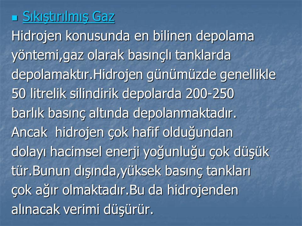 Sıkıştırılmış Gaz Sıkıştırılmış Gaz Hidrojen konusunda en bilinen depolama yöntemi,gaz olarak basınçlı tanklarda depolamaktır.Hidrojen günümüzde genel