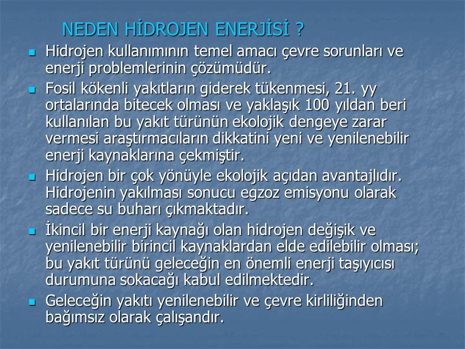 NEDEN HİDROJEN ENERJİSİ ? NEDEN HİDROJEN ENERJİSİ ? Hidrojen kullanımının temel amacı çevre sorunları ve enerji problemlerinin çözümüdür. Hidrojen kul