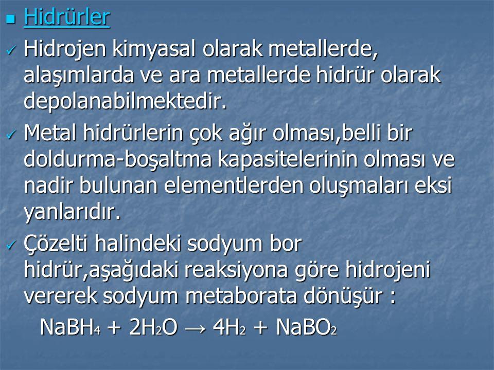 Hidrürler Hidrürler Hidrojen kimyasal olarak metallerde, alaşımlarda ve ara metallerde hidrür olarak depolanabilmektedir. Hidrojen kimyasal olarak met