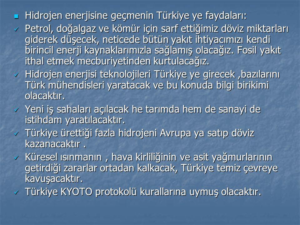 Hidrojen enerjisine geçmenin Türkiye ye faydaları: Hidrojen enerjisine geçmenin Türkiye ye faydaları: Petrol, doğalgaz ve kömür için sarf ettiğimiz dö