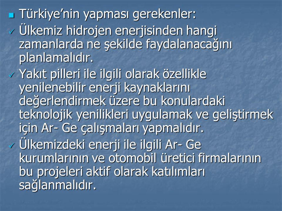 Türkiye'nin yapması gerekenler: Türkiye'nin yapması gerekenler: Ülkemiz hidrojen enerjisinden hangi zamanlarda ne şekilde faydalanacağını planlamalıdı