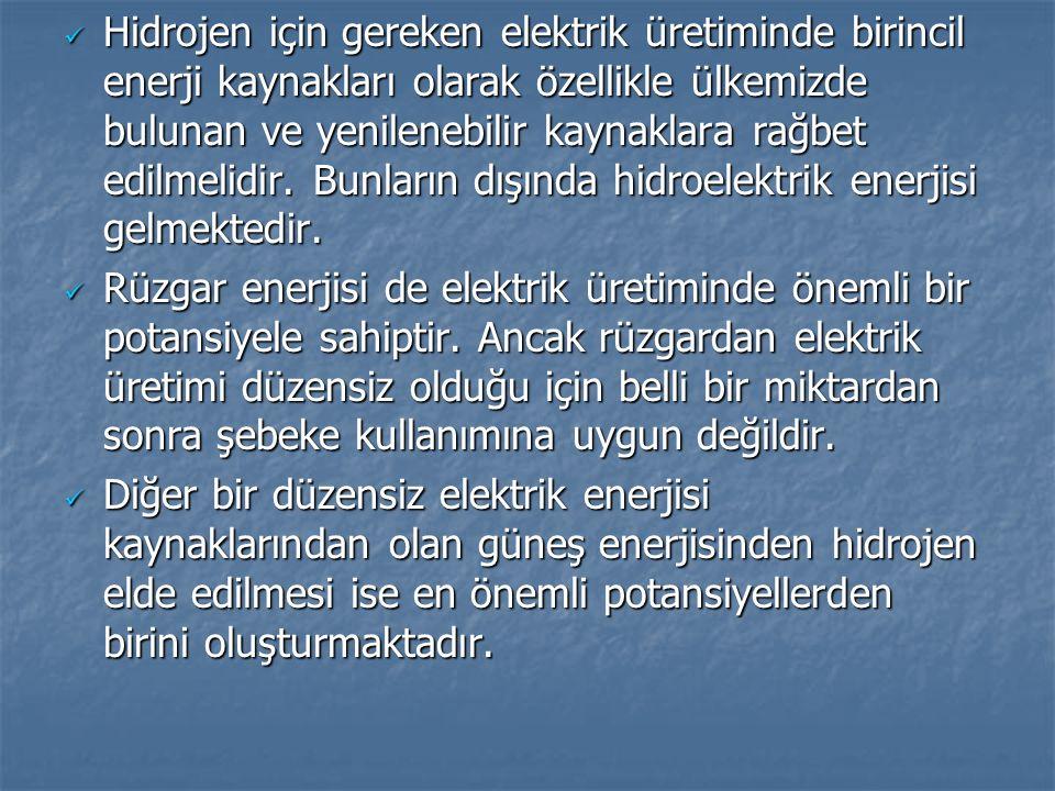 Hidrojen için gereken elektrik üretiminde birincil enerji kaynakları olarak özellikle ülkemizde bulunan ve yenilenebilir kaynaklara rağbet edilmelidir