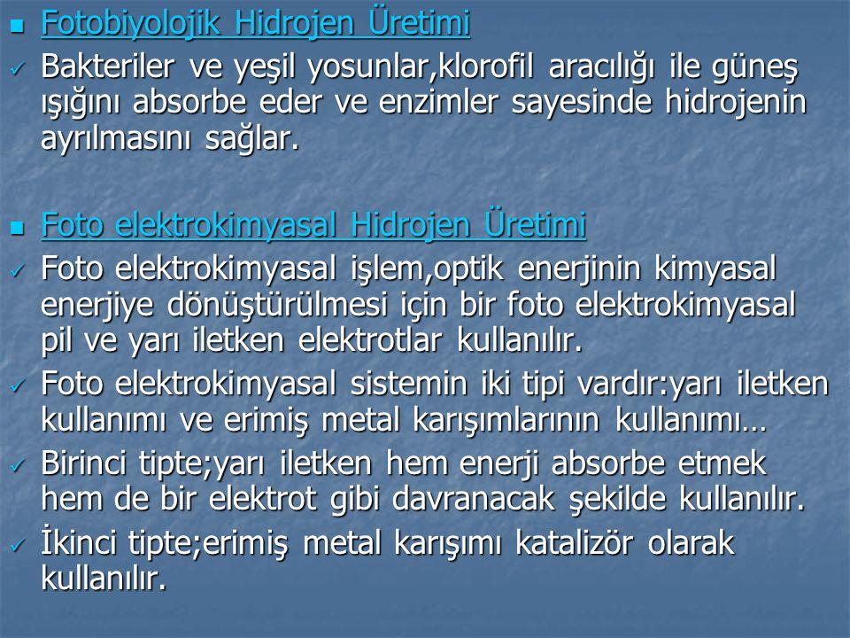 Hidrojen enerjisine geçmenin Türkiye ye faydaları: Hidrojen enerjisine geçmenin Türkiye ye faydaları: Petrol, doğalgaz ve kömür için sarf ettiğimiz döviz miktarları giderek düşecek, neticede bütün yakıt ihtiyacımızı kendi birincil enerji kaynaklarımızla sağlamış olacağız.