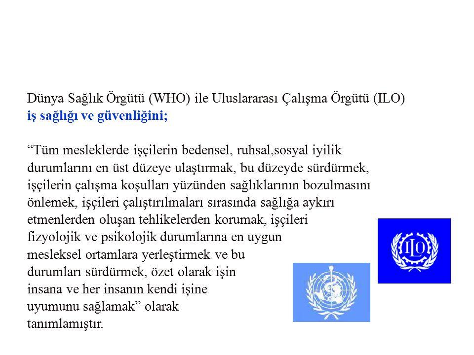 """Dünya Sağlık Örgütü (WHO) ile Uluslararası Çalışma Örgütü (ILO) iş sağlığı ve güvenliğini; """"Tüm mesleklerde işçilerin bedensel, ruhsal,sosyal iyilik d"""