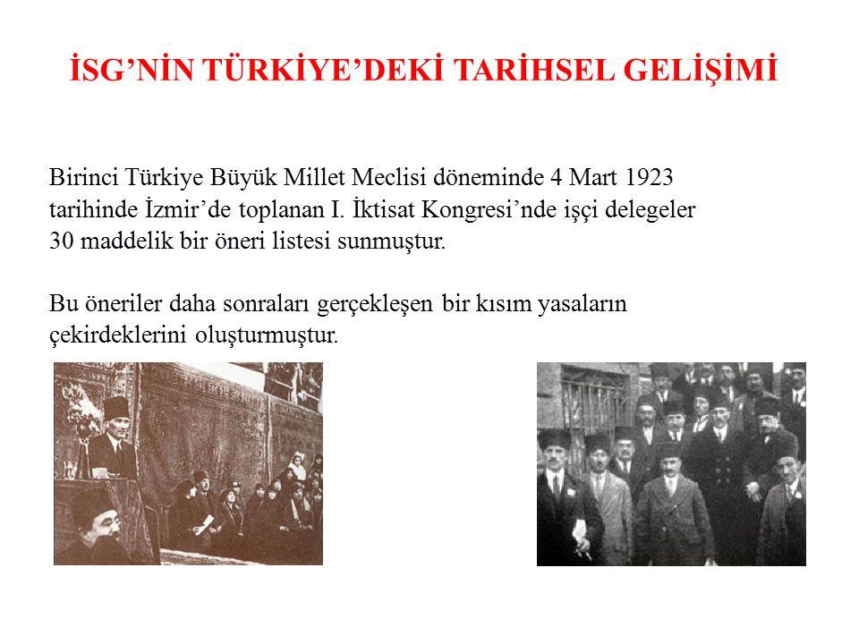 İSG'NİN TÜRKİYE'DEKİ TARİHSEL GELİŞİMİ Birinci Türkiye Büyük Millet Meclisi döneminde 4 Mart 1923 tarihinde İzmir'de toplanan I. İktisat Kongresi'nde