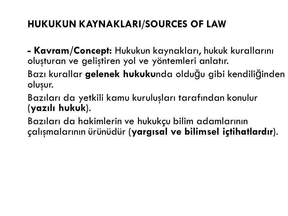 HUKUKUN KAYNAKLARI/SOURCES OF LAW - Kavram/Concept: Hukukun kaynakları, hukuk kurallarını oluşturan ve geliştiren yol ve yöntemleri anlatır. Bazı kura