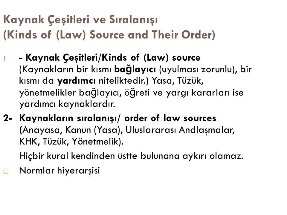 Kaynak Çeşitleri ve Sıralanışı (Kinds of (Law) Source and Their Order) 1 - Kaynak Çeşitleri/Kinds of (Law) source (Kaynakların bir kısmı ba ğ layıcı (