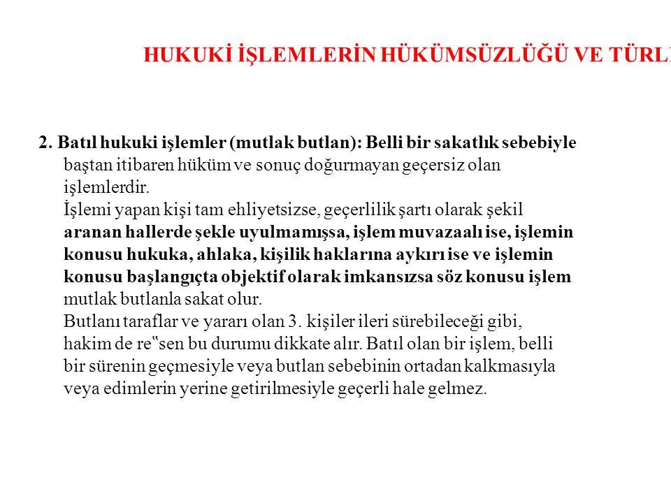 HUKUKİ İŞLEMLERİN HÜKÜMSÜZLÜĞÜ VE TÜRLERİ 2.