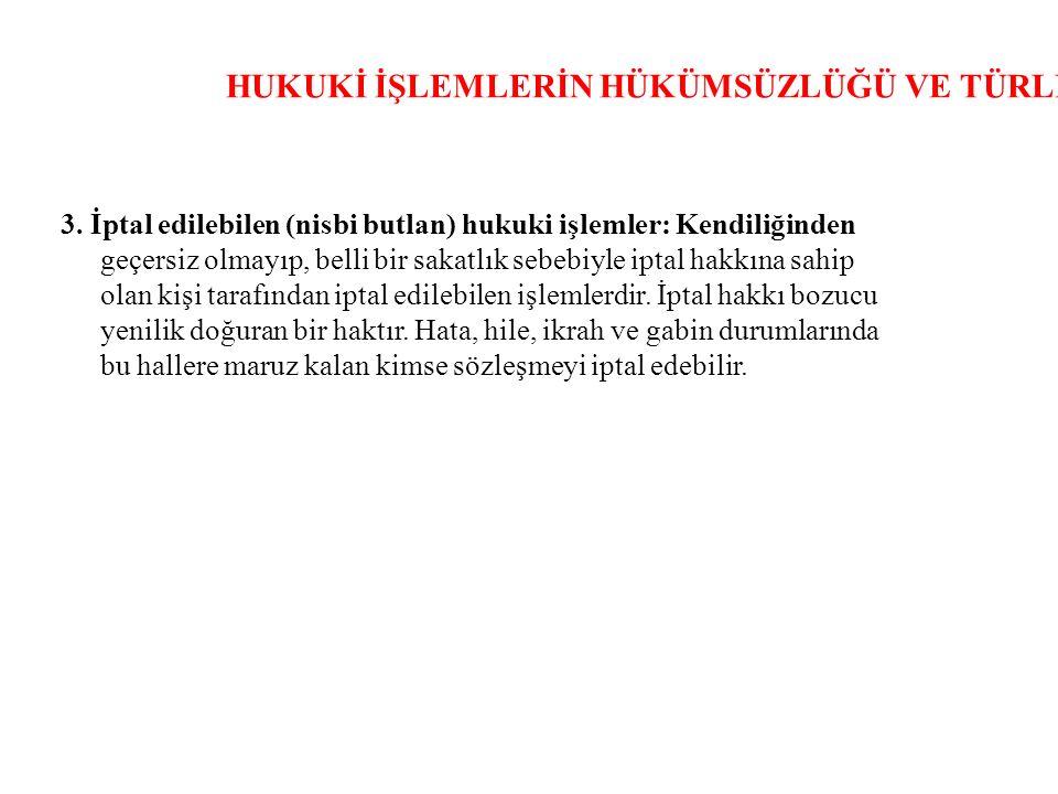 HUKUKİ İŞLEMLERİN HÜKÜMSÜZLÜĞÜ VE TÜRLERİ 3.