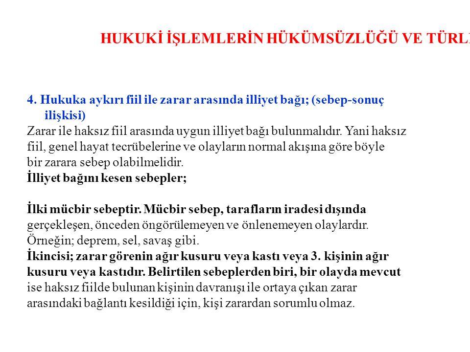 HUKUKİ İŞLEMLERİN HÜKÜMSÜZLÜĞÜ VE TÜRLERİ 4.