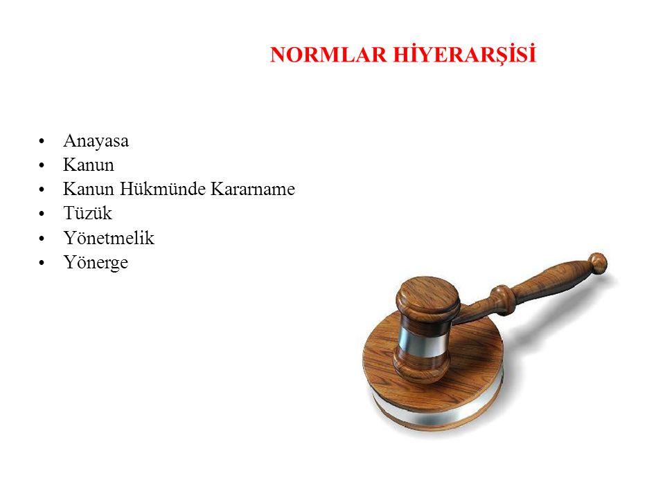 NORMLAR HİYERARŞİSİ Anayasa Kanun Kanun Hükmünde Kararname Tüzük Yönetmelik Yönerge