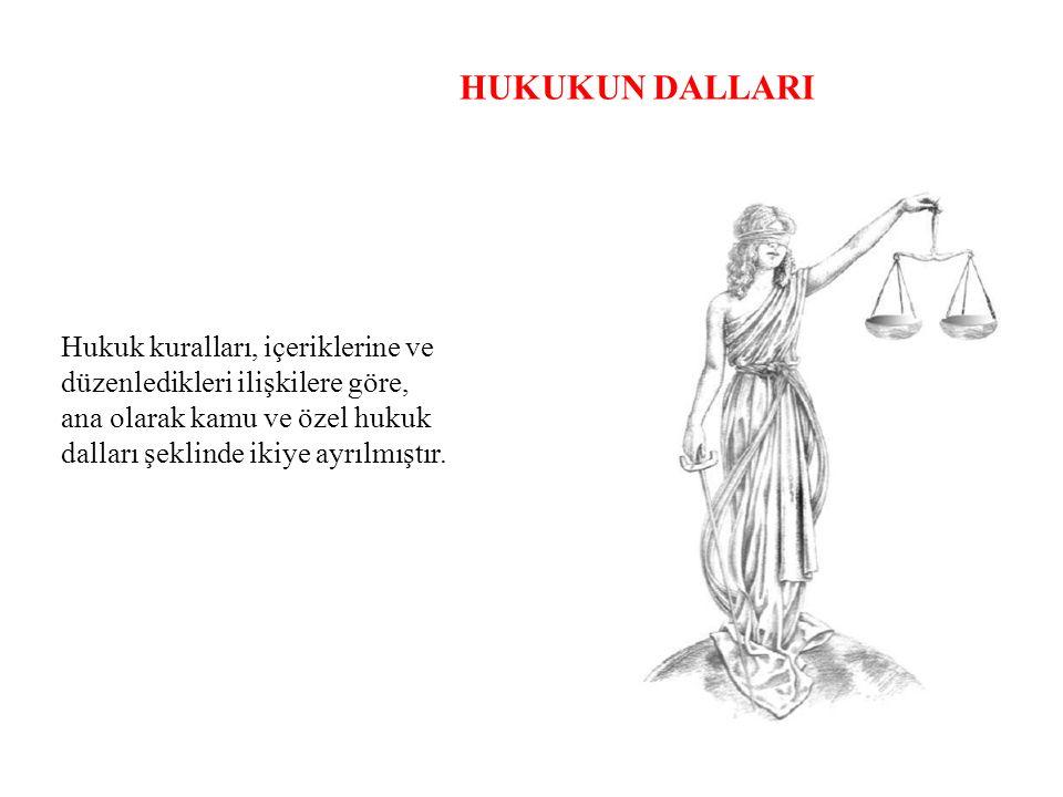 HUKUKUN DALLARI Hukuk kuralları, içeriklerine ve düzenledikleri ilişkilere göre, ana olarak kamu ve özel hukuk dalları şeklinde ikiye ayrılmıştır.