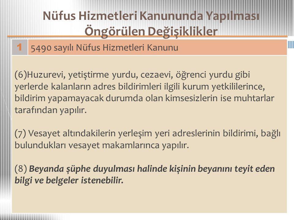 Nüfus Hizmetleri Kanununda Yapılması Öngörülen Değişiklikler 1 5490 sayılı Nüfus Hizmetleri Kanunu (6)Huzurevi, yetiştirme yurdu, cezaevi, öğrenci yur