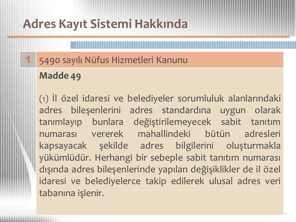 Adres Kayıt Sistemi Hakkında 1 5490 sayılı Nüfus Hizmetleri Kanunu Madde 49 (1) İl özel idaresi ve belediyeler sorumluluk alanlarındaki adres bileşenl