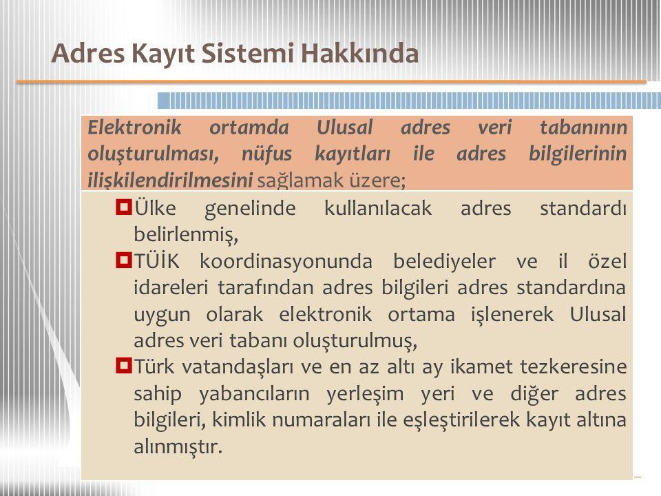 Adres Kayıt Sistemi Hakkında Elektronik ortamda Ulusal adres veri tabanının oluşturulması, nüfus kayıtları ile adres bilgilerinin ilişkilendirilmesini sağlamak üzere;  Ülke genelinde kullanılacak adres standardı belirlenmiş,  TÜİK koordinasyonunda belediyeler ve il özel idareleri tarafından adres bilgileri adres standardına uygun olarak elektronik ortama işlenerek Ulusal adres veri tabanı oluşturulmuş,  Türk vatandaşları ve en az altı ay ikamet tezkeresine sahip yabancıların yerleşim yeri ve diğer adres bilgileri, kimlik numaraları ile eşleştirilerek kayıt altına alınmıştır.
