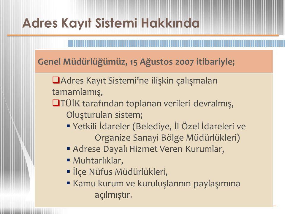 Adres Kayıt Sistemi Hakkında Kapsamı  Türkiye Cumhuriyeti Vatandaşları,  Türkiye'de İkamet İznine Sahip Yabancılar,  5901 sayılı Kanun kapsamındaki Yabancılar,  KKTC Vatandaşları.