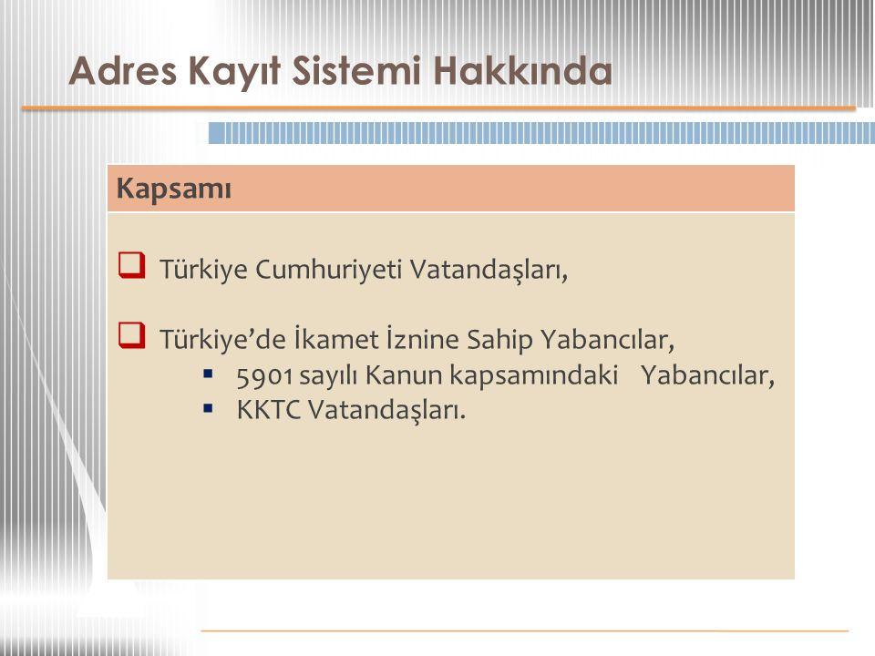 Adres Kayıt Sistemi Hakkında Kapsamı  Türkiye Cumhuriyeti Vatandaşları,  Türkiye'de İkamet İznine Sahip Yabancılar,  5901 sayılı Kanun kapsamındaki