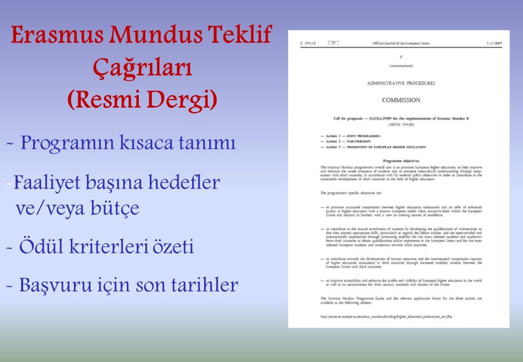 Erasmus Mundus Teklif Ça ğ rıları (Resmi Dergi) - Programın kısaca tanımı -Faaliyet ba ş ına hedefler ve/veya bütçe - Ödül kriterleri özeti - Ba ş vuru için son tarihler