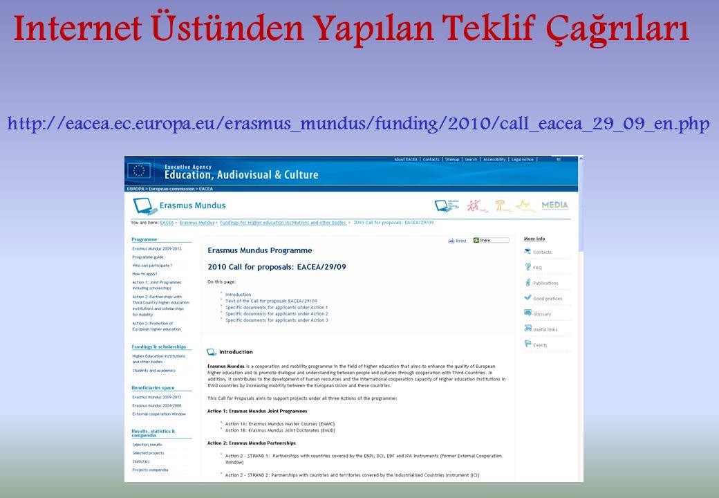 Internet Üstünden Yapılan Teklif Ça ğ rıları http://eacea.ec.europa.eu/erasmus_mundus/funding/2010/call_eacea_29_09_en.php