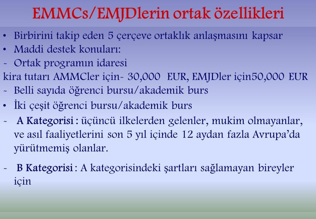 EMMCs/EMJDlerin ortak özellikleri Birbirini takip eden 5 çerçeve ortaklık anla ş masını kapsar Maddi destek konuları: -Ortak programın idaresi kira tutarı AMMCler için- 30,000 EUR, EMJDler için50,000 EUR -Belli sayıda ö ğ renci bursu/akademik burs İ ki çe ş it ö ğ renci bursu/akademik burs - A Kategorisi : üçüncü ilkelerden gelenler, mukim olmayanlar, ve asıl faaliyetlerini son 5 yıl içinde 12 aydan fazla Avrupa'da yürütmemi ş olanlar.