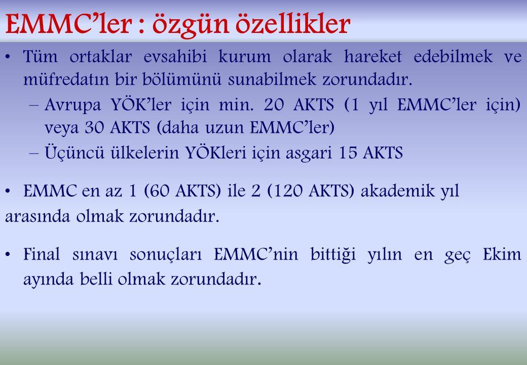 EMMC'ler : özgün özellikler Tüm ortaklar evsahibi kurum olarak hareket edebilmek ve müfredatın bir bölümünü sunabilmek zorundadır.